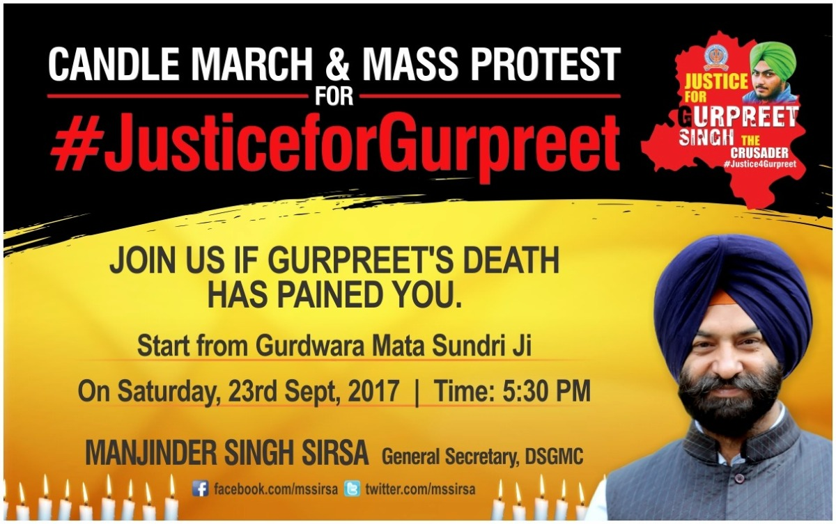 #Justice4Gurpreet – Calling the youth of Delhi for this candle march
